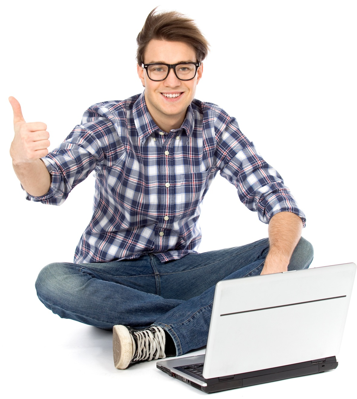 Guy with laptop showing thumbs up